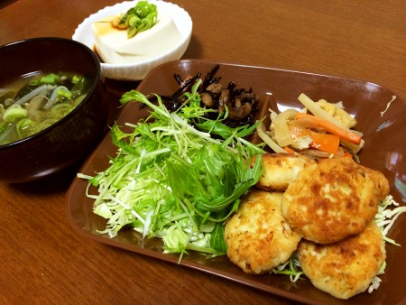 おから入り手作りチキンナゲット、根野菜のさっぱり煮、ひじきと大豆の煮物、冷奴、もやしとわかめの味噌汁