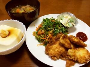 鶏胸肉のピカタ、切り干し大根の中華和え、枝豆とサツマイモのサラダ 他