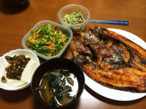 赤魚の干物、冷奴ゴーヤ味噌がけ、切り干し大根の中華風、ごぼうサラダ、もやしとわかめの味噌汁