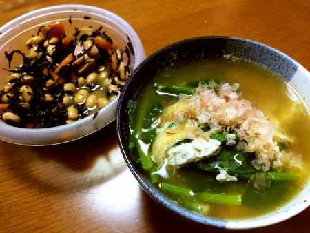 復活してきたので…お雑煮 半熟卵入り、ひじきと大豆の煮物