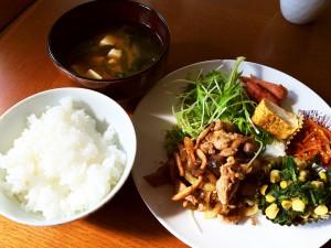 豚肉の生姜焼き、バターコーンほうれん草、人参のきんぴら 他