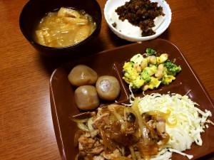 ポークジンジャー、玉こんにゃくのピリ辛煮、ミックスビーンズと南瓜のサラダ、湯豆腐肉味噌乗せ、白菜と油揚げの味噌汁