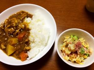 ポークカレー、ベーコンと枝豆のサラダ