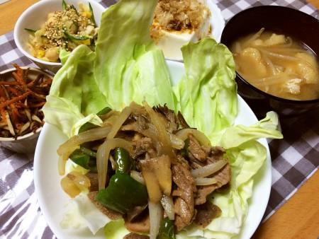 冷凍こんにゃく入りの肉野菜炒め、きんぴらごぼう、切り干し大根とミックスビーンズのサラダ、冷奴、油揚げともやしの味噌汁