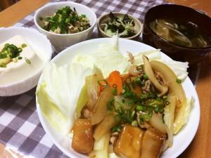 高野豆腐と豚肉と野菜の中華風炒め、切り干し大根と塩こぶのサラダ、きゅうりとわかめの酢の物、冷奴、もやしとわかめの味噌汁
