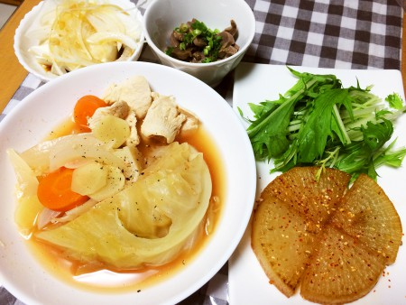 鶏胸肉と丸ごとキャベツのトマトスープ煮、大根のステーキ、砂肝の煮物、冷奴