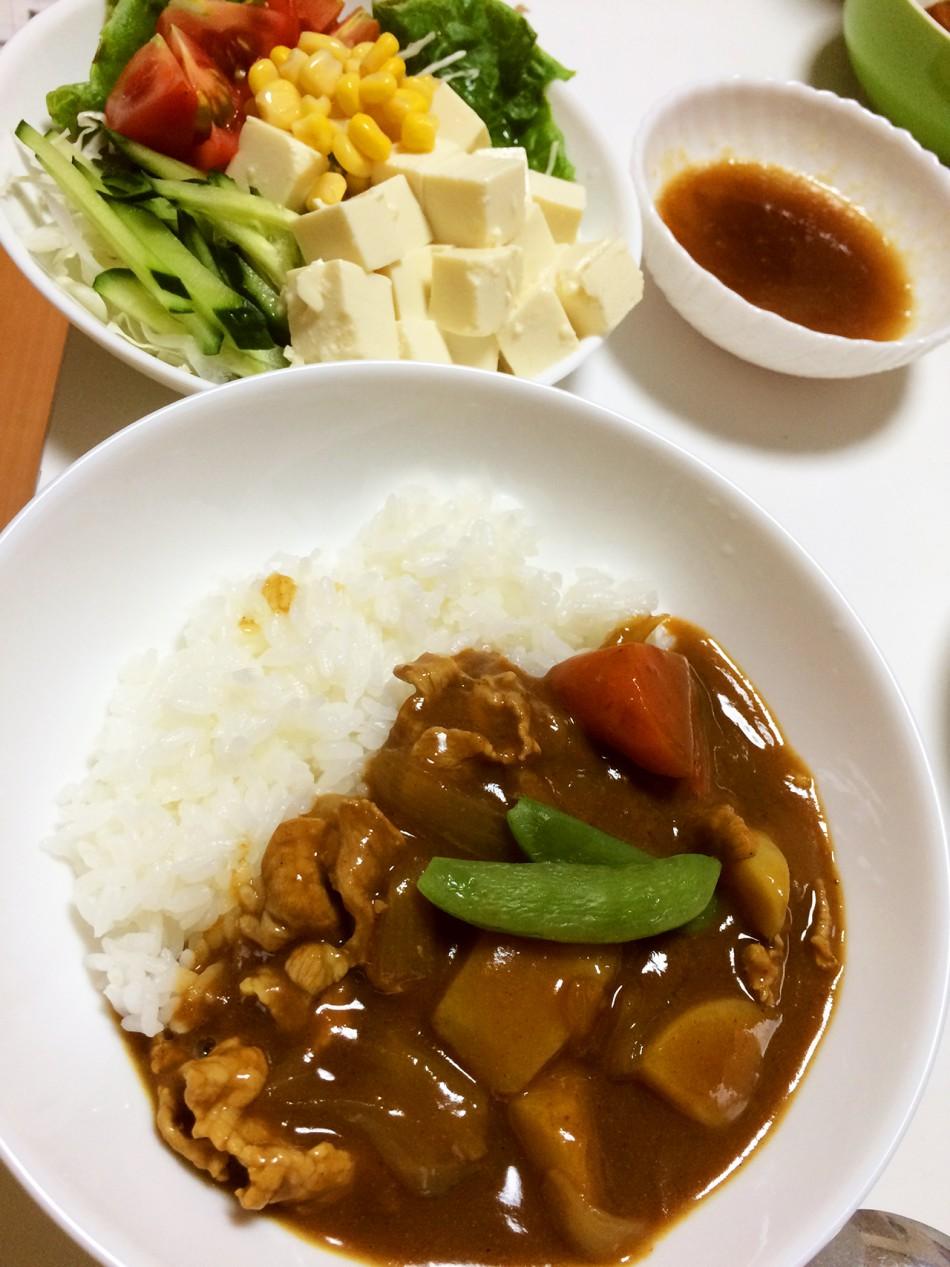 ポークカレー、豆腐サラダたまねぎ氷ドレッシング