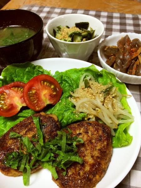 鯖缶と豆腐のハンバーグ、もやしのナムル、ピリ辛こんにゃく、きゅうりとわかめの酢の物、茄子の味噌汁