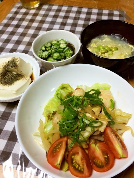 鶏胸肉と野菜のあっさり焼き、枝豆入り春雨スープ、もずく酢、冷奴だし粉乗せ