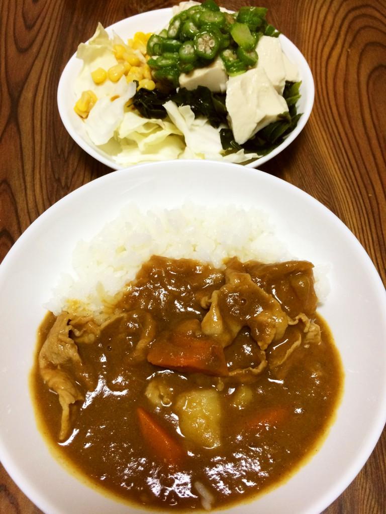 【今週のカレー】ポークカレー、豆腐とおくらとわかめのサラダ