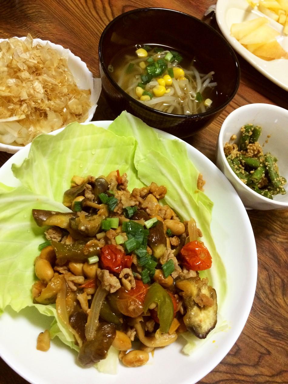 茄子とトマトの味噌炒め、冷奴たまねぎ乗せ、いんげんの胡麻和え、もやしとコーンの中華風スープ