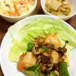 "<span class=""title"">鶏胸肉と野菜の炒め物、豆腐と春雨のスープ、鯖味噌煮缶と白菜の煮物</span>"